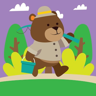Cute cartoon avontuur beer wandelen in de jungle