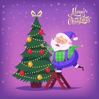 Cute cartoon blauw pak santa claus versieren kerstboom merry christmas illustratie