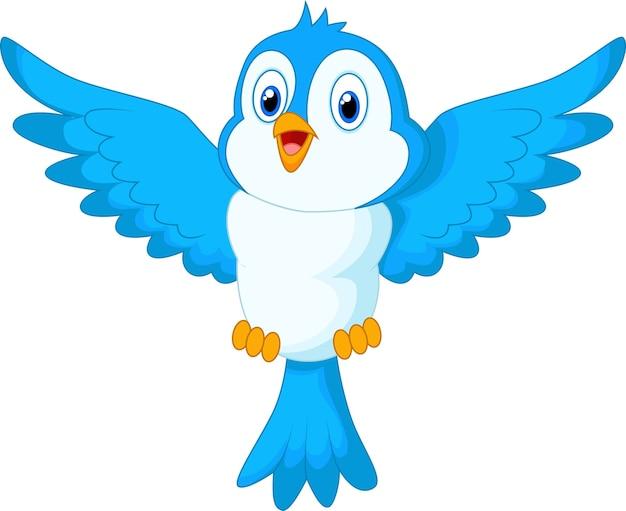 Cute cartoon blauwe vogel vliegen
