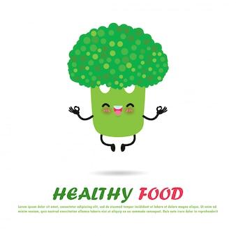 Cute cartoon broccoli in yoga pose, gezond eten en fitness, grappige plantaardige karakter gelukkig sterke broccoli mediteren in yoga pose geïsoleerd op witte achtergrond illustratie vlakke stijl