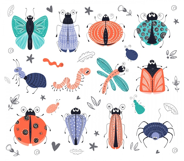 Cute cartoon bugs, kevers, vector set