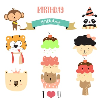 Cute cartoon dieren vector