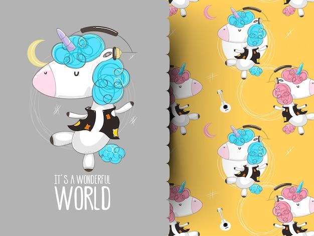 Cute cartoon eenhoorn meisje hoofdtelefoon dragen en luisteren naar muziek op polka dot.