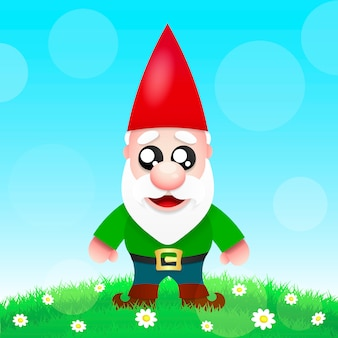 Cute cartoon garden gnomes