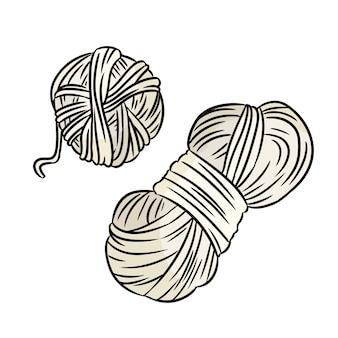 Cute cartoon garen doodle. handgemaakt logo. media markeert symbool
