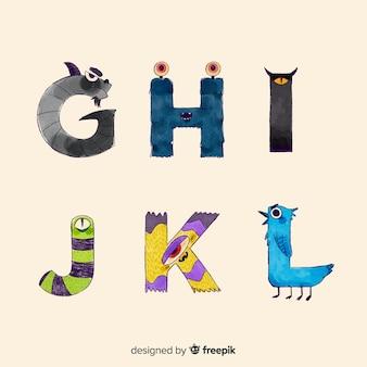 Cute cartoon halloween monster alfabet