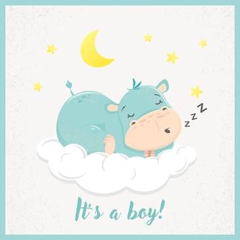 Cute cartoon hippo slapen.