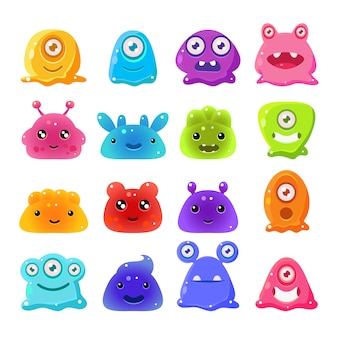 Cute cartoon jelly monsters, set