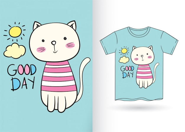 Cute cartoon kat hand getekend voor t-shirt