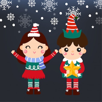 Cute cartoon kerst concept.