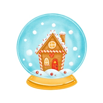 Cute cartoon kerst snowglobe speelgoed met peperkoek huis binnen