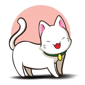 Cute cartoon khao manee cat., (khao manee is soortnaam thaise kat.)