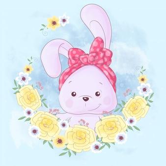 Cute cartoon konijn in een krans van gele bloemen