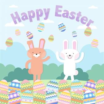 Cute cartoon konijnen en kleurrijke vector paaseieren
