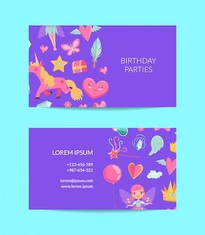 Cute cartoon magie en sprookjesachtige visitekaartje