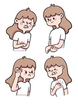 Cute cartoon meisje gewond, pijn, gekwetst illustratie set