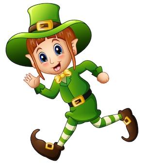 Cute cartoon meisje leprechaun uitgevoerd