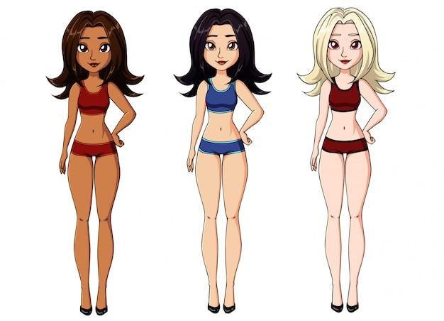 Cute cartoon meisje ondergoed dragen.
