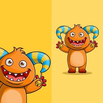 Cute cartoon monster karakter zwaaien. met verschillende weergavehoekpositie, met de hand getekend