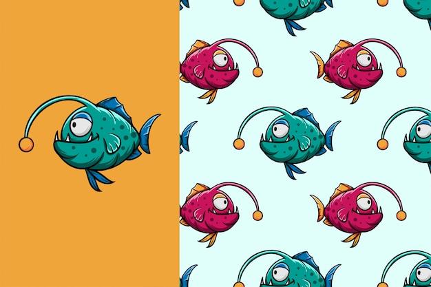 Cute cartoon monster vis naadloze patroon