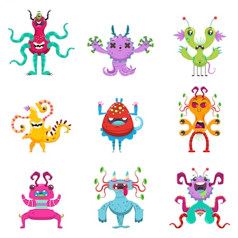 Cute cartoon monsters instellen. vector vlakke karakter van grappige wezens geïsoleerd