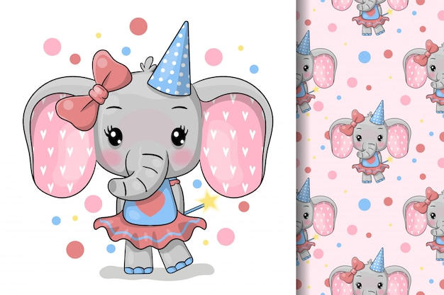 Cute cartoon olifant wenskaart. ontwerp voor feestkaart, print, poster. huisdier vectorillustratie.