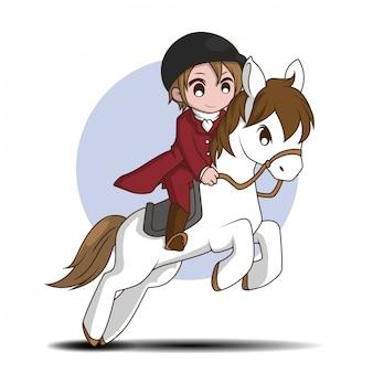 Cute cartoon paardenraces karakter. sport karakter cartoon.