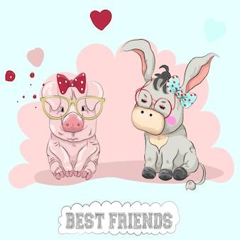 Cute cartoon piggy en ezel vrienden hand getrokken.