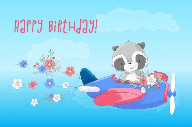 Cute cartoon raccoon vliegt op een vliegtuig
