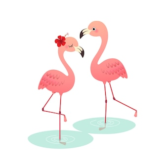 Cute cartoon roze flamingo paar staande op water.