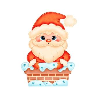 Cute cartoon santa claus in een schoorsteen