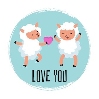 Cute cartoon sheeps verliefd Premium Vector