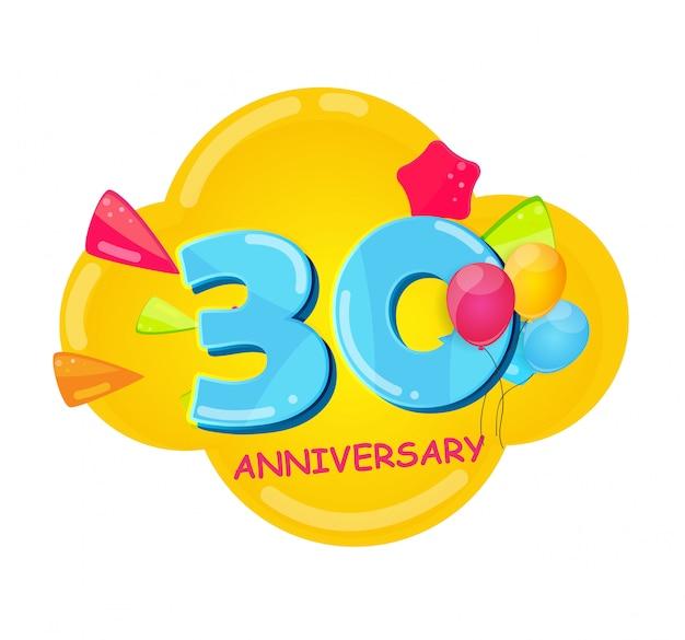Cute cartoon sjabloon 30 jaar verjaardag