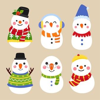 Cute cartoon snowman collection.chistmas concept.