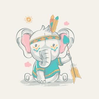 Cute cartoon tribal olifant met veren