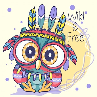 Cute cartoon tribal owl met veren