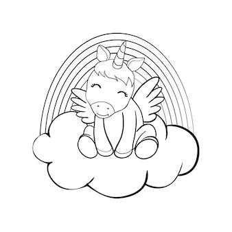 Cute cartoon unicorns coloring book page vectorillustratie, kinderen achtergrond, kleurplaat eenhoorn