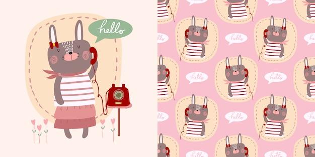 Cute cartoon vector hallo kleine konijn meisje met telefoon versierd met hart