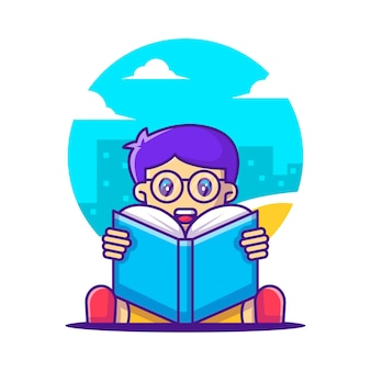 Cute cartoon vector illustraties jongen die een boek leest. terug naar schoolpictogramconcept