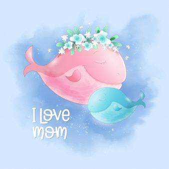 Cute cartoon walvis moeder en zoon in de lucht