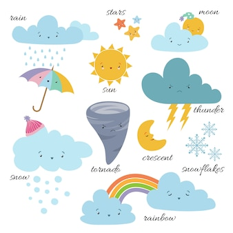 Cute cartoon weerpictogrammen. voorspelling meteorologie vocabulaire symbolen