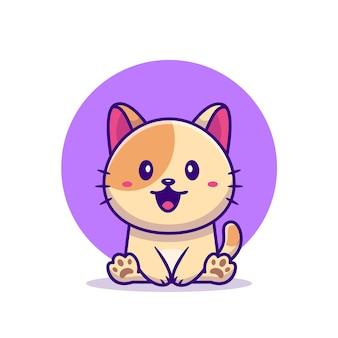 Cute cat cartoon vectorillustratie zitten. animal love concept geïsoleerd. platte cartoon stijl