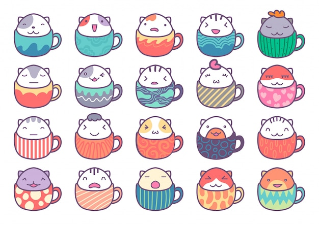 Cute cat character inside cup
