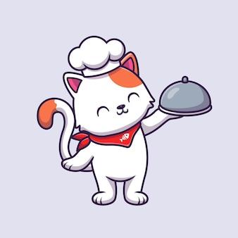 Cute cat chef holding cloche food cartoon vector illustration.