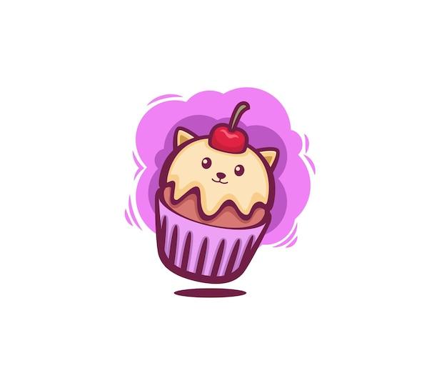 Cute cat cup cake doodle art illustation