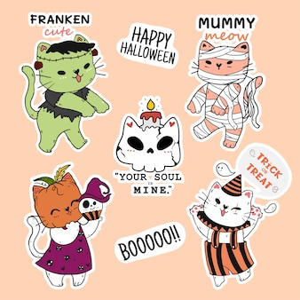 Cute cat halloween stickercollectie, pompoenkop, mummie