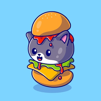 Cute cat hamburger cartoon pictogram illustratie. animal food icon concept geïsoleerd. flat cartoon stijl