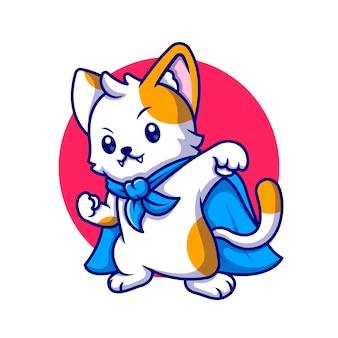 Cute cat super hero cartoon pictogram illustratie. animal hero icon concept geïsoleerd. platte cartoon stijl