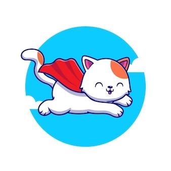 Cute cat super hero flying