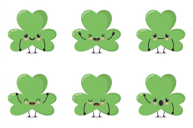 Cute clover leaf character collection set. karakterillustratie in bundel